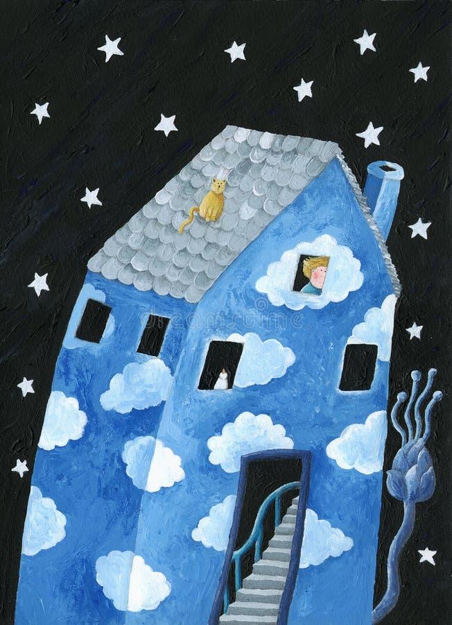 Casa azul ilustração stock