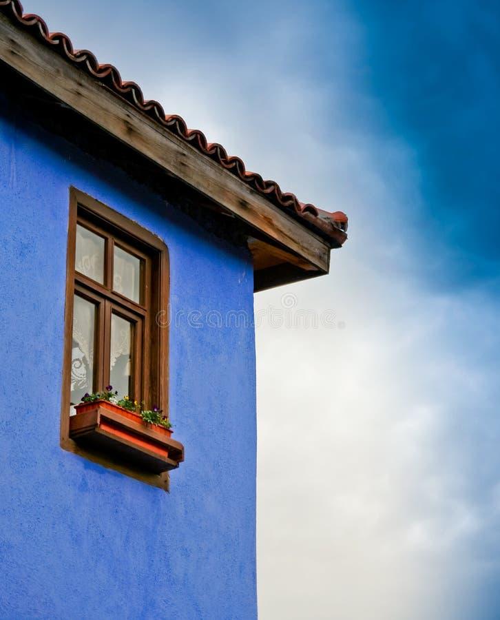 Download Casa azul foto de stock. Imagem de flor, baixo, ângulo - 12808388