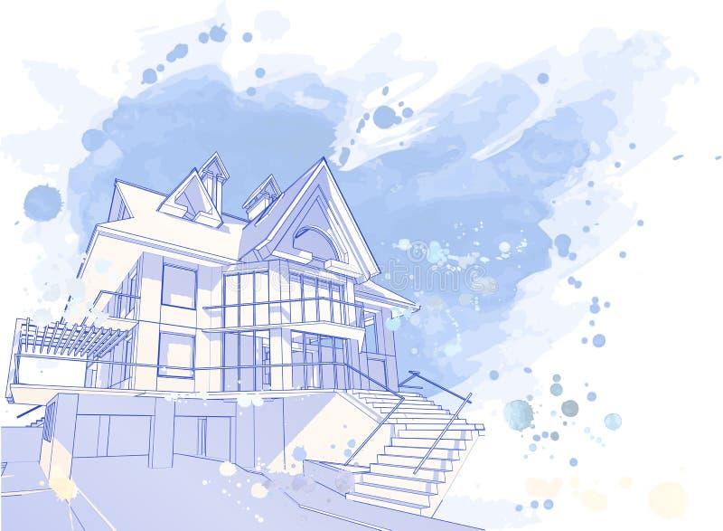 Casa azul da aguarela ilustração stock