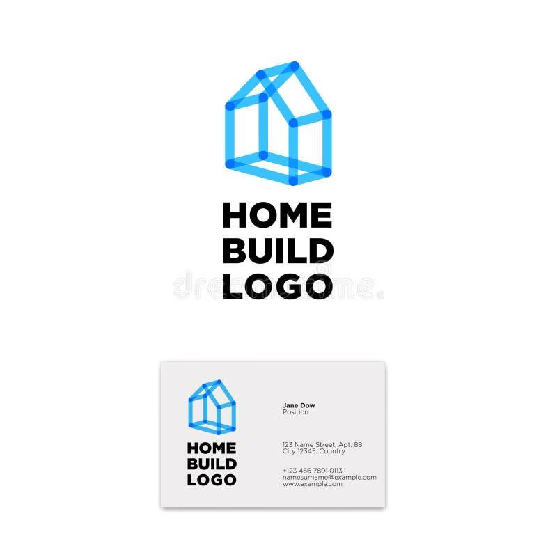 Casa azul de líneas transparentes Logotipo casero del edificio Emblema de la arquitectura libre illustration
