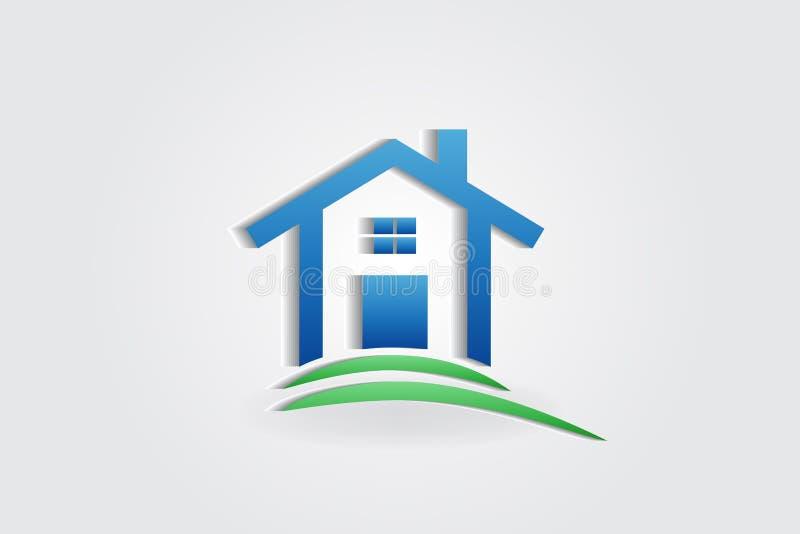Casa azul do logotipo ilustração stock