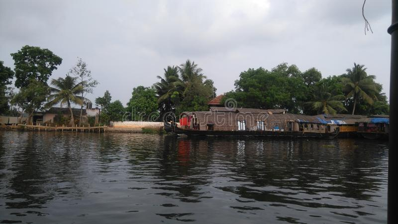 Casa barco de Allepey imagenes de archivo