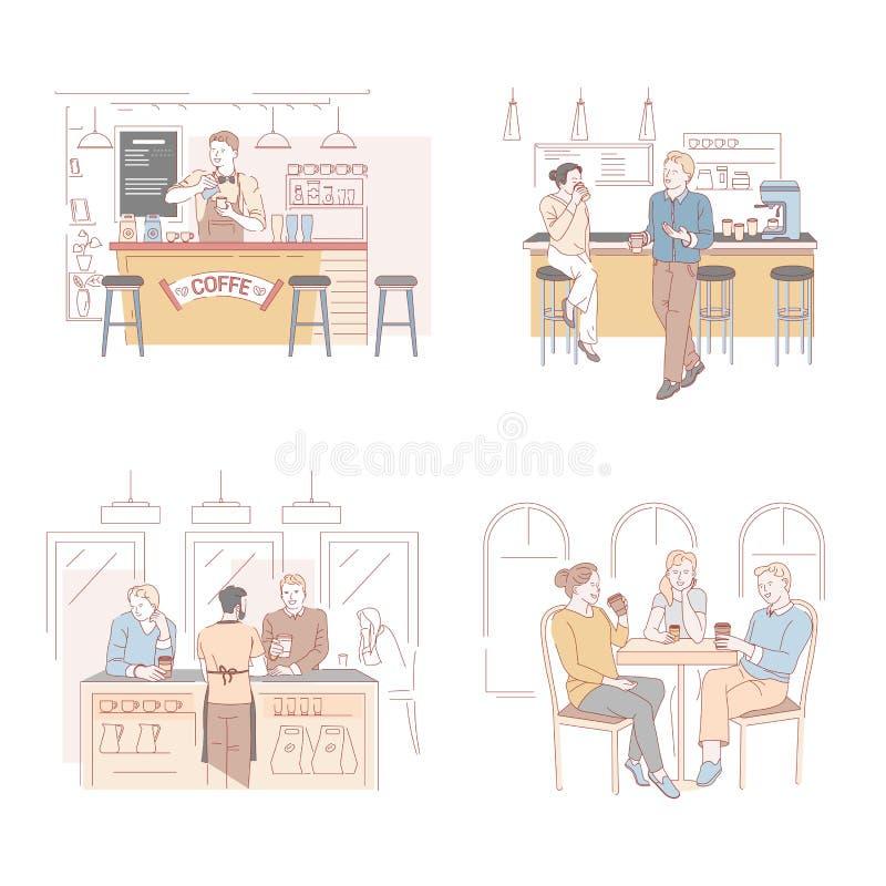 A casa, a barra e o barista do café, café quente das bebidas isolaram ícones ilustração royalty free