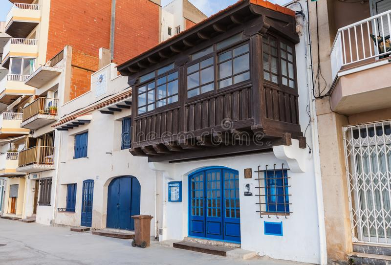 Casa Barral Museum, Calafell, Spain. Calafell, Spain - August 18, 2014: Entrance to Casa Barral Museum, established in old fishermans shop where the poet, writer royalty free stock images