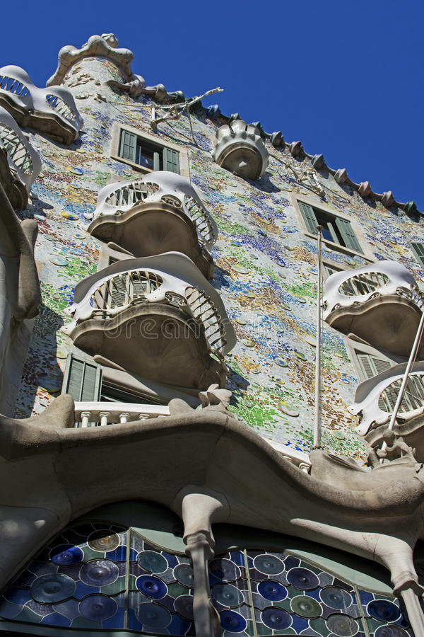 Casa Batlló, Barcelona. Casa Batlló is a renowned building located in the center of Barcelona, Spain, and is one of Antoni Gaudí's masterpieces stock image