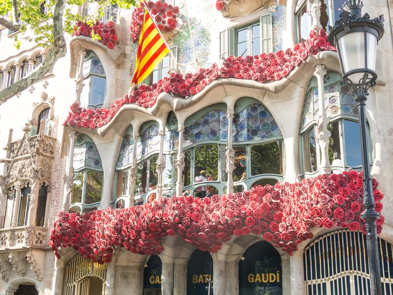 The Casa Batlló by Antonio Gaudí, decorated to celebrate the Day of the Rose in Catalonia. Paseo de Gracia, Barcelona. BARCELONA, SPAIN - APRIL 20: The Day royalty free stock photography