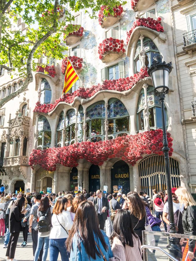 The Casa Batlló by Antonio Gaudí, decorated to celebrate the Day of the Rose in Catalonia. Paseo de Gracia, Barcelona. BARCELONA, SPAIN - APRIL 20: The Day royalty free stock image