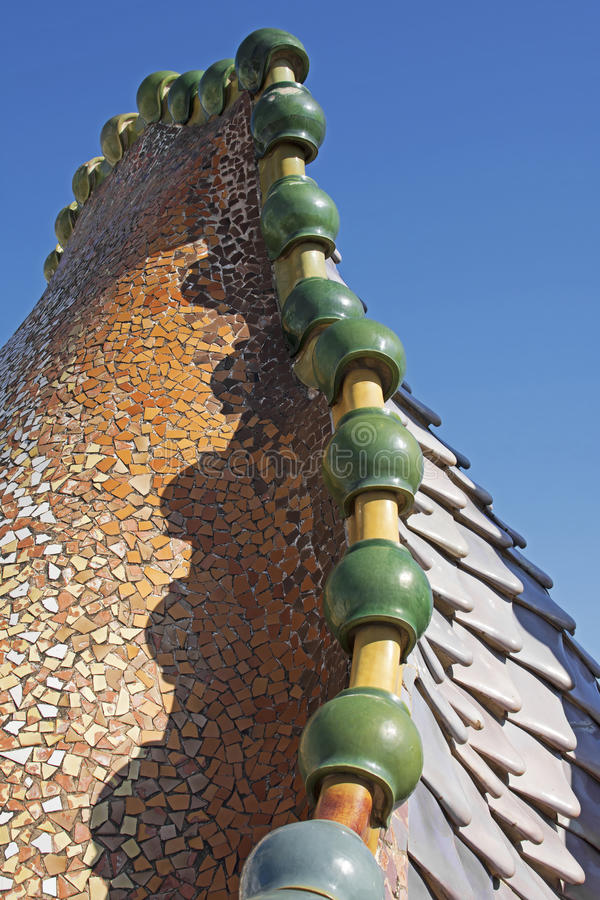 Casa Batlló, Barcelona (Dragon Mosaic). Fragment of the mosaic dragon turret on Antonio Gaudis Casa Batlló tile roof in Barcelona. Casa Batlló is a royalty free stock images