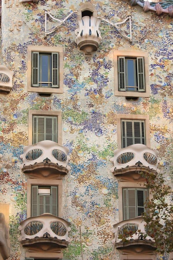 Casa Batllo. Theatrical masks from Barcelona.Casa Batllo royalty free stock images