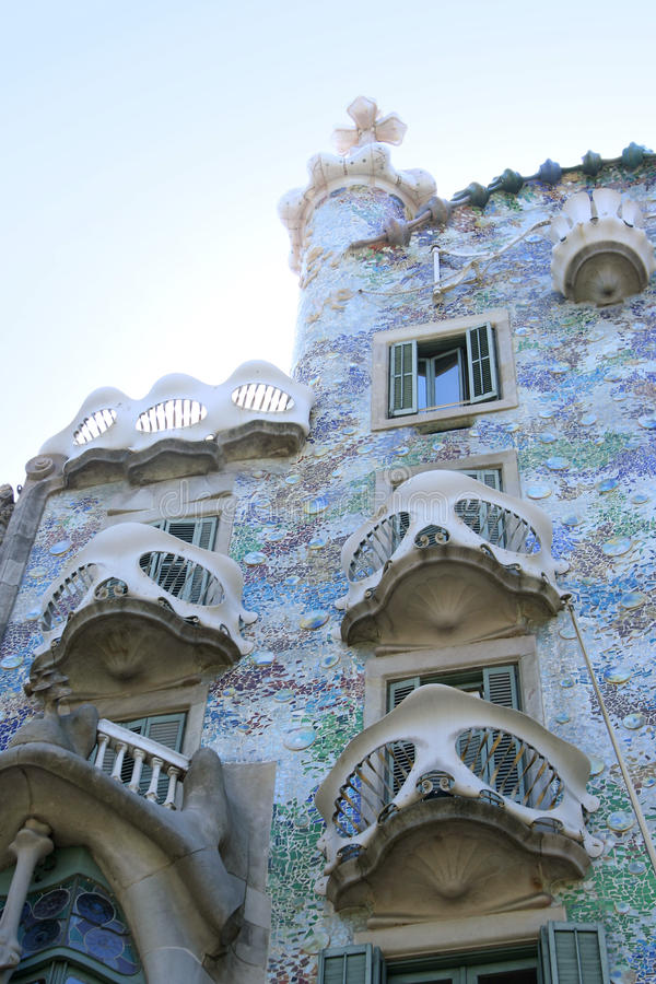 Casa Batllo 2. BARCELONA, SPAIN - AUGUST 20, 2011: Exterior of Casa Batllo on August 20, 2011 in Barcelona, Spain. The famous building was designed by catalan stock photos