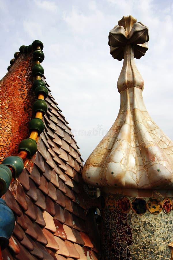 Casa Batllo. Mosaic detail on the roof Casa Batllo by Antoni Gaudi Barcelona Spain royalty free stock images