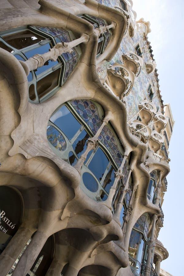 Casa Batllo. Detail of the facade of Casa Batllo, designed by architect Antoni Gaudi, Barcelona, Spain royalty free stock photo