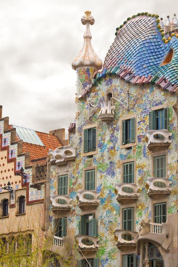 Casa Batllo. Detail of the facade of Casa Batllo, designed by architect Antoni Gaudi, Barcelona, Spain stock image