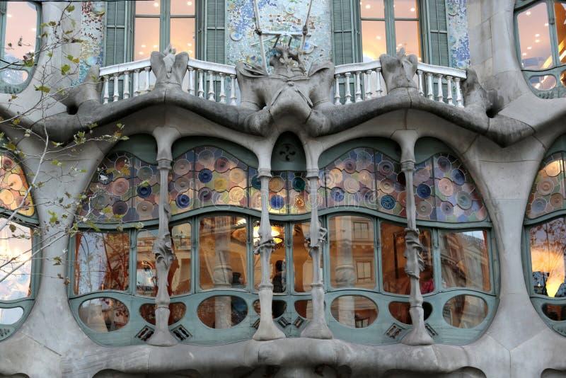 Casa Batllo, architettura di Gaudi, Eixample, Barcellona, Spagna fotografia stock libera da diritti