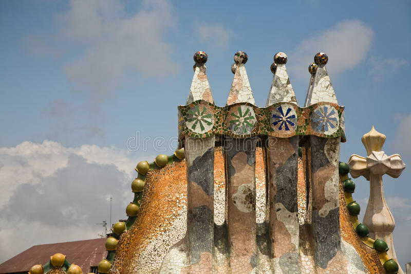 Casa Batllo in Barcelona. Chimneys on the roof of Casa Batllo in Barcelona, Spain stock image