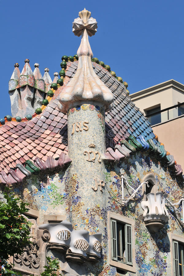 Casa Batllo - Barcelona. Outside details of Casa Batllo in Barcelona, Spain royalty free stock photo