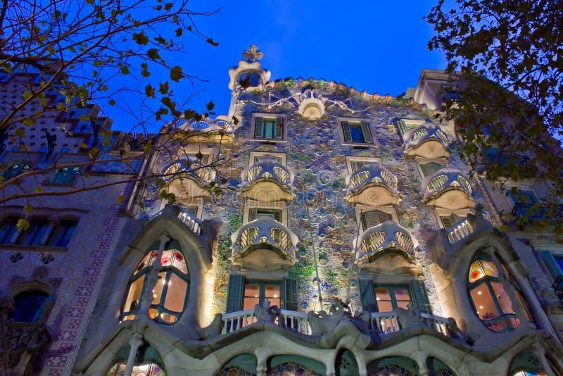 Casa Batllo, Barcelona, Spain. Casa Batllo illuminated at night, Barcelona, Spain stock photos
