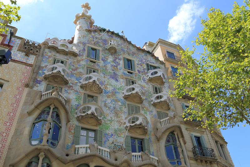 Casa Batllo. BARCELONA, SPAIN - AUGUST 9, 2015: Casa Batllo building in Barcelona. It was redesigned by the legendary architect Antoni Gaudi in 1904 royalty free stock image