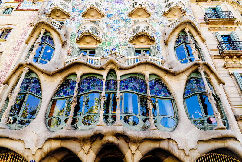 Casa Batllo In Barcelona. BARCELONA, SPAIN - AUGUST 05, 2016: Casa Batllo is a renowned building located in the center of Barcelona and is one of Antoni Gaudi royalty free stock images