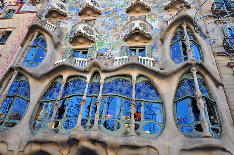 Casa Batllo, Barcelona. BARCELONA, SPAIN - DECEMBER 7: Facade of the Casa Batllo by Gaudi in Barcelona on December 7, 2014. Barcelona is the capital city of royalty free stock image