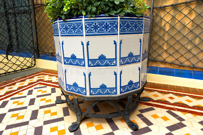 Casa Batllo - Barcelona. BARCELONA, SPAIN - JUNE 12, 2014: Detail of pot and ceramic floor in Casa Batllo. Built in the year 1877 and remodelled and restored by royalty free stock photography