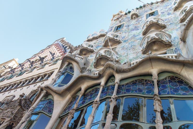 Casa Batllo in Barcelona, Spanje de beroemde die bouw door Antoni Gaudi wordt ontworpen stock fotografie