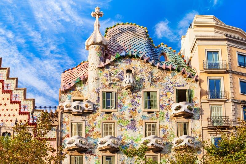Casa Batllo building in Barcelona. BARCELONA, SPAIN - OCTOBER 03, 2017: Casa Batllo is one of Antoni Gaudi masterpieces. Casa Batllo located in the center of stock photos