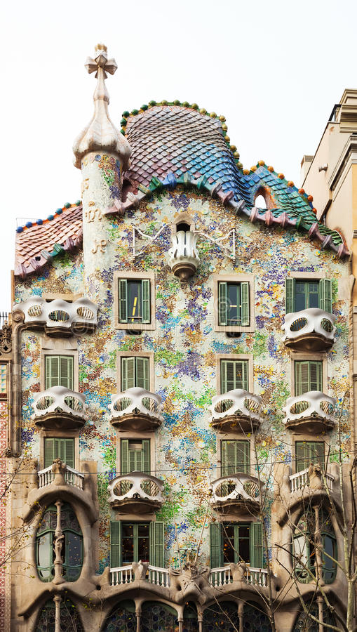 Casa Batllo by Catalan architect Antoni Gaudi. Barcelona. BARCELONA, SPAIN - APRIL 8: Casa Batllo in April 8, 2013 in Barcelona, Spain. Was built in 1904 by stock photo