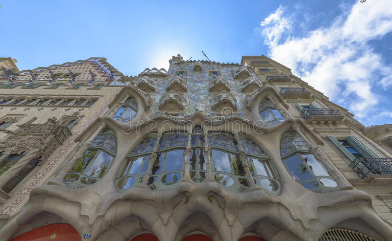 Casa Batllo, Eixample District, Barcelona, Spain. Barcelona - July 16: The facade of the house Casa Battlo designed by Antoni Gaudi on July 12, 2014 Barcelona stock image
