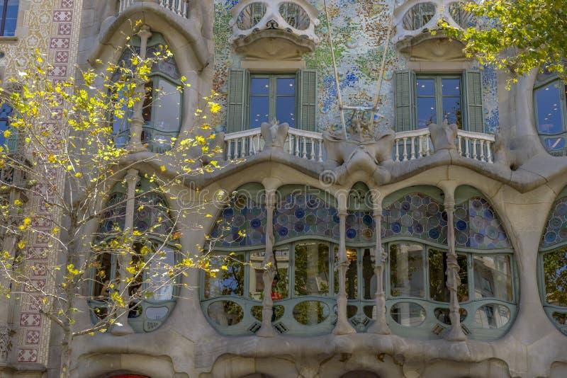 Casa Batllo, Eixample District, Barcelona, Spain. Barcelona - July 16: The facade of the house Casa Battlo designed by Antoni Gaudi on July 12, 2014 Barcelona royalty free stock images