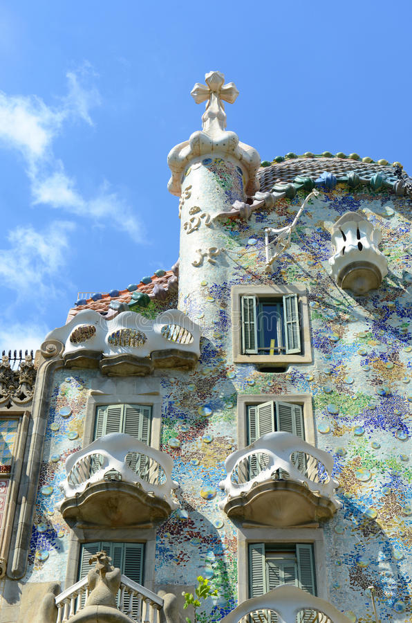 Casa Batllo, Eixample District, Barcelona, Spain. Casa Batllo (La Casa Batlló) is an Modernism masterpiece by architect Antoni Gaudi at Eixample District in royalty free stock photos
