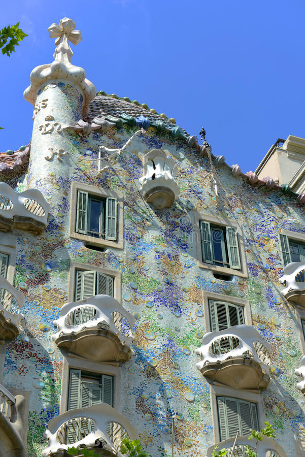 Casa Batllo, Eixample District, Barcelona, Spain. Casa Batllo (La Casa Batlló) is an Modernism masterpiece by architect Antoni Gaudi at Eixample District in royalty free stock photography