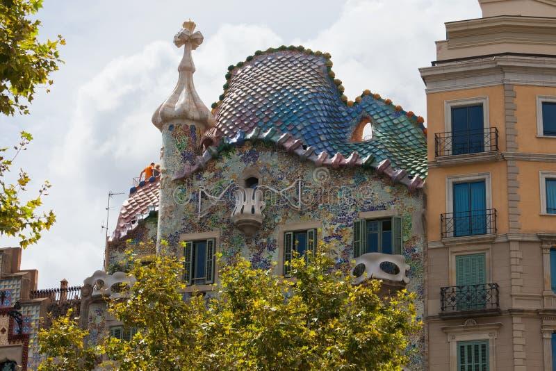 Casa Batllo. Facade of famous house Casa Batllo by Antoni Gaudi, Barcelona, Spain royalty free stock photography