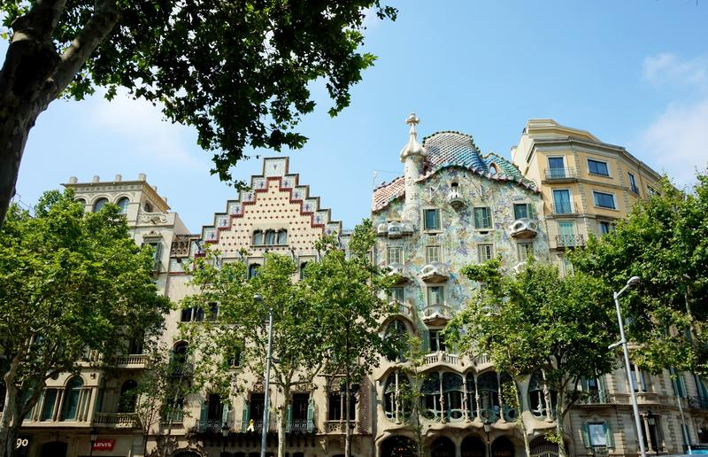 Casa Batllo, Gaudi`s expiated, in Barcelona. Other building names: `Yawning House`, `House of Bones`, `House-Dragon royalty free stock photos