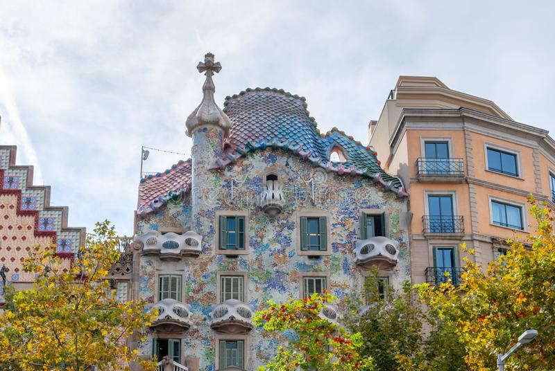 Casa Batllo, House built by Antonio Gaudi, Spain Barcelona stock photos