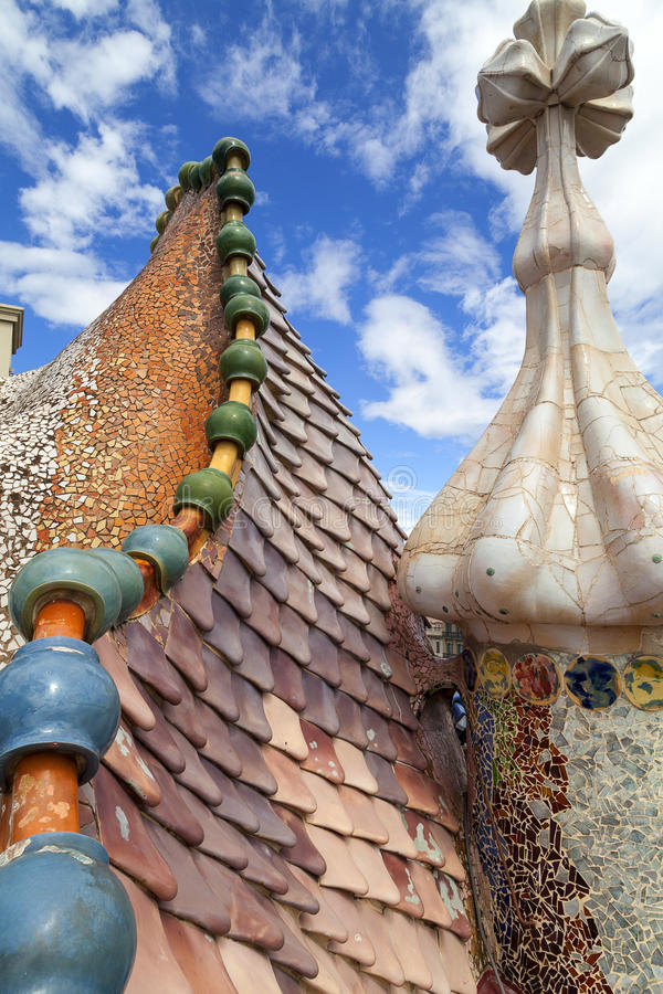 Casa Batllo, housetop , details with ceramic mosaic, Barcelona. Barcelona, Spain - May 11,2016 : Casa Batllo, housetop , details with ceramic mosaic. Building royalty free stock photography