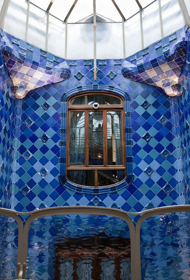 Casa Batllo interior.Mozaic on the walls. Antonio royalty free stock photo