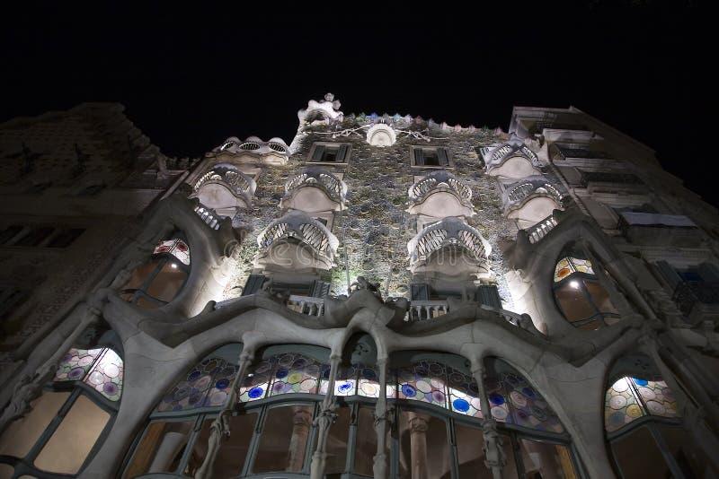 Casa Batllo at night stock images