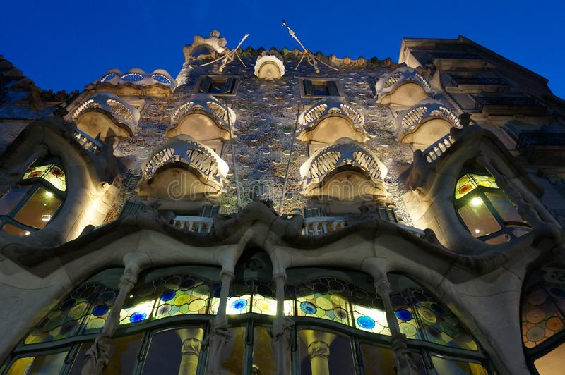 Casa Batllo at Night in Barcelona. Photo of casa batllo at night in barcelona spain on 9/18/18. This is one of several houses designed by architect antonio gaudi stock photography
