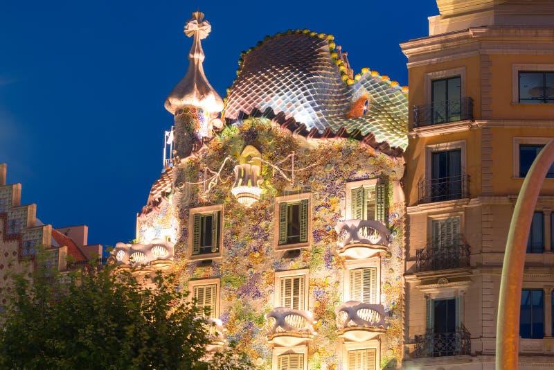 Casa Batllo at night, Barcelona, Spain royalty free stock image