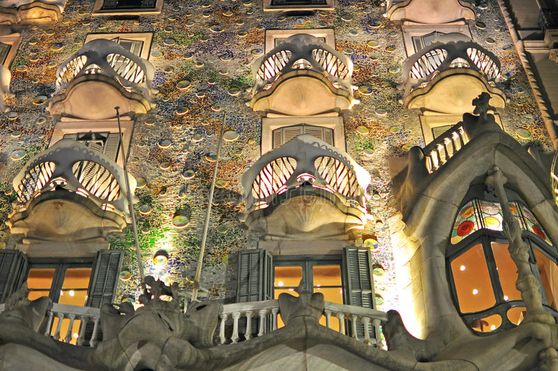 Casa Batllo at night. BARCELONA, SPAIN - DECEMBER 26: Facade of the Casa Batllo by Gaudi in Barcelona on December 26, 2014. Barcelona is the capital city of stock images