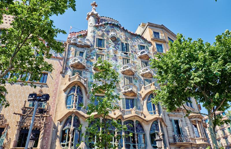 Casa Batllo  is a renowned building located in the center of Barcelona. BARCELONA, SPAIN -MAY 19, 2018:  Casa Batllo  is a renowned building located in royalty free stock photo