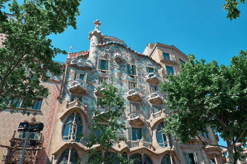 Casa Batllo  is a renowned building located in the center of Barcelona. BARCELONA, SPAIN -MAY 19, 2018:  Casa Batllo  is a renowned building located in royalty free stock image