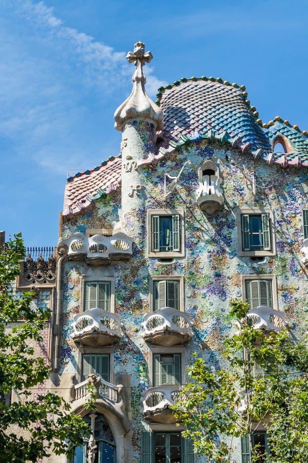 Casa Batllo. Vertical view of Casa Batllo in Barcelona in a sunny day stock image