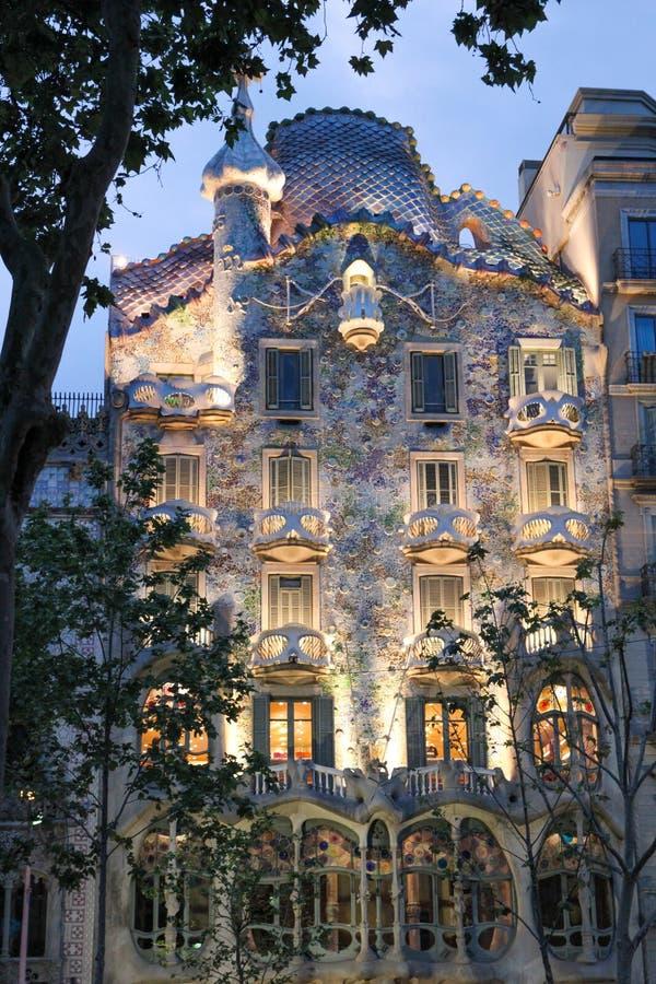 Casa Batllo during evening (Barcelona) stock photo