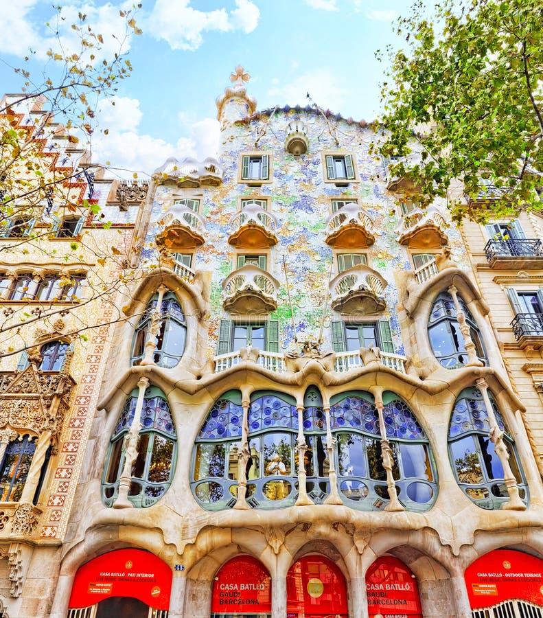 Casa Batlo. Outdoor view Gaudi's creation-house Casa Batlo. Spain stock images