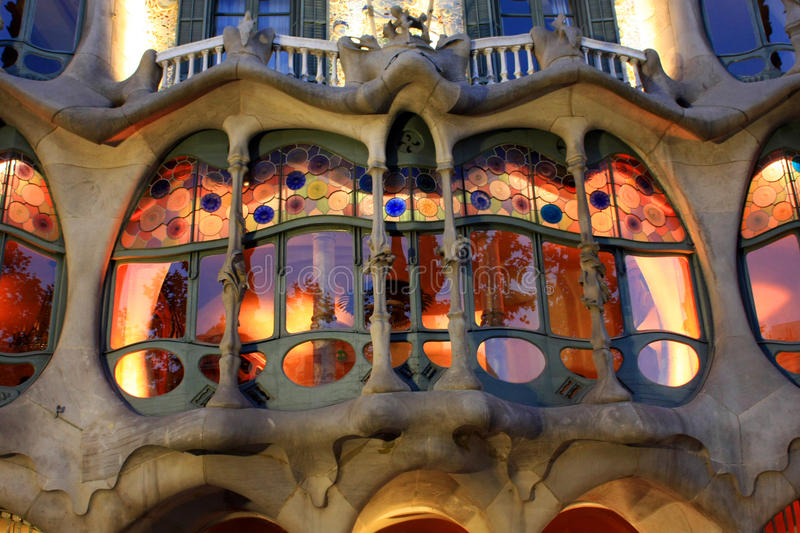 Casa Battlo. Famous creation by Gaudi (1904) for the industrialist Josep Batllo. Covered in colorful tiny pieces of mosaic and stained glass windows. Casa Batll stock photos
