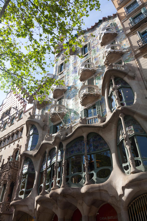 Casa Battlo. BARCELONA - APRIL 14: Casa Battlo is a building restored by Antoni Gaudi and Josep Maria Jujol, built in the year 1877 and remodelled in the years royalty free stock images