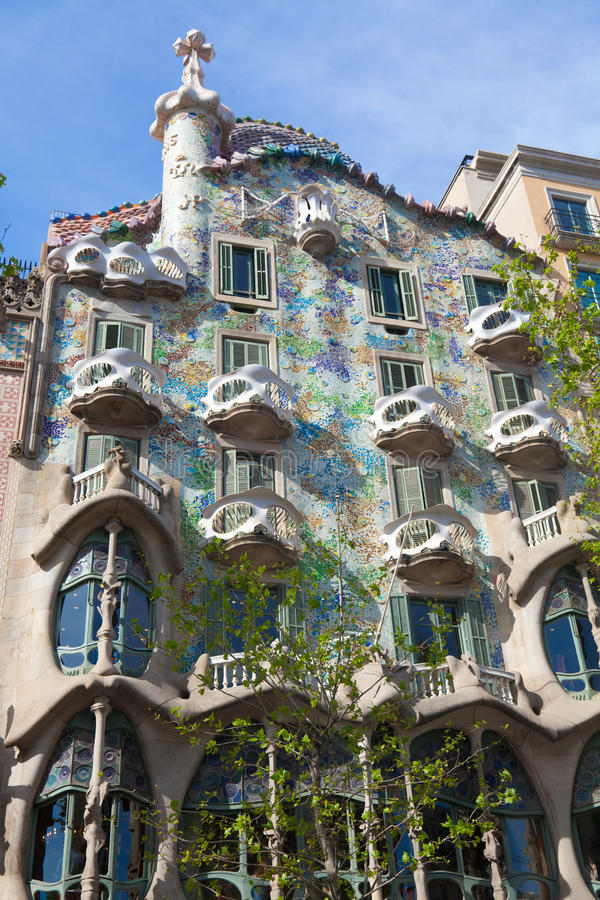 Casa Battlo. BARCELONA - APRIL 14: Casa Battlo is a building restored by Antoni Gaudi and Josep Maria Jujol, built in the year 1877 and remodelled in the years stock photo