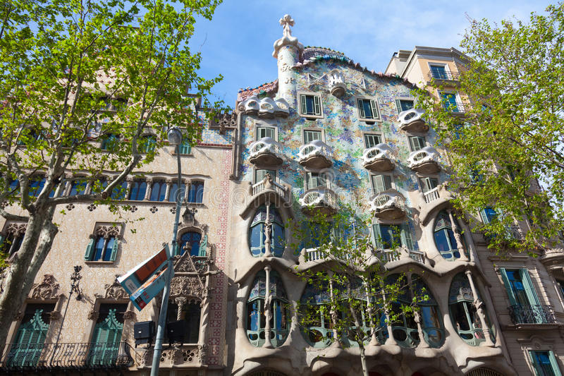 Casa Battlo. BARCELONA - APRIL 14: Casa Battlo is a building restored by Antoni Gaudi and Josep Maria Jujol, built in the year 1877 and remodelled in the years stock image